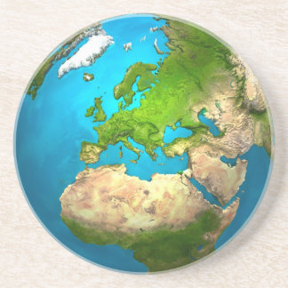 Planet Earth - Europe - Colorful Globe. 3d Render Coaster