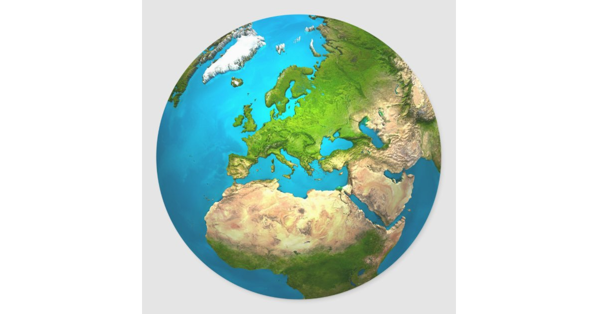 Planet Earth - Europe - Colourful Globe. 3d Render Round ...