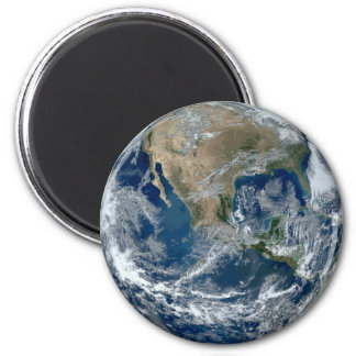 Planet Earth from Outer Space with Clouds 6 Cm Round Magnet
