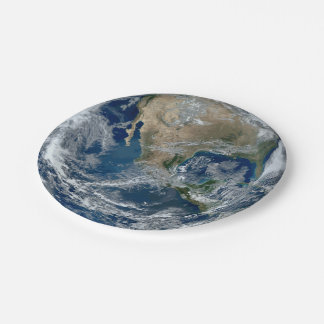 Planet Earth from Outer Space with Clouds Paper Plate