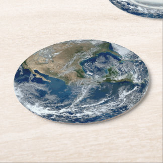 Planet Earth from Outer Space with Clouds Round Paper Coaster