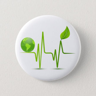 PLANET EARTH HEART MONITOR 6 CM ROUND BADGE