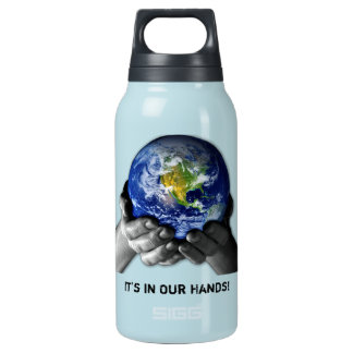PLANET EARTH IN HANDS INSULATED WATER BOTTLE