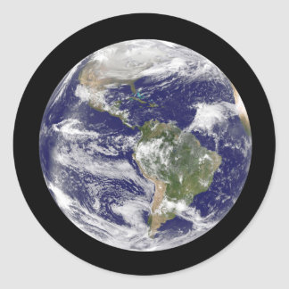 Planet Earth in Outer Space Photographic Globe Classic Round Sticker