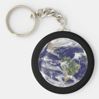 Planet Earth Photographic Round Globe Key Ring