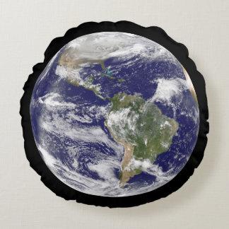 Planet Earth Photographic Round Globe Round Cushion