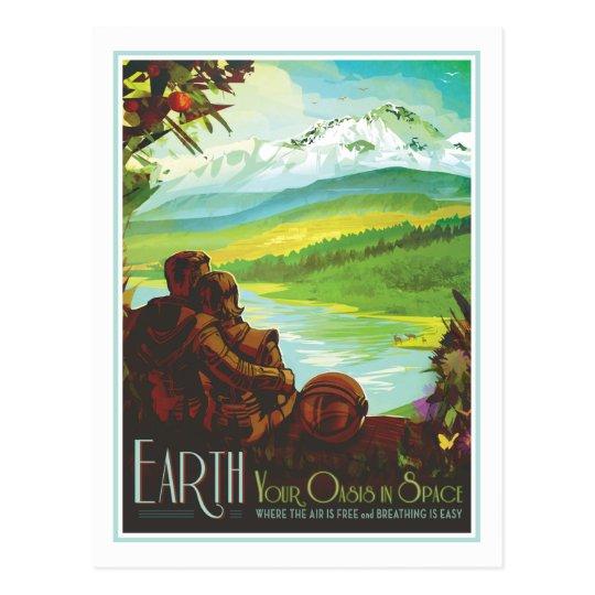 Planet Earth - Retro Space Travel Illustration Postcard