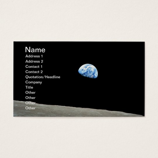 Planet earth rising above the moon business card