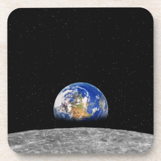 Planet earth rising over Moon Coasters
