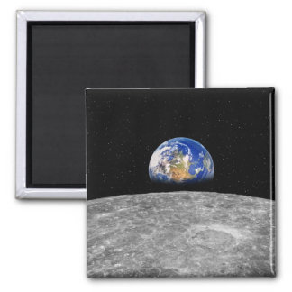 Planet earth rising over Moon Magnet