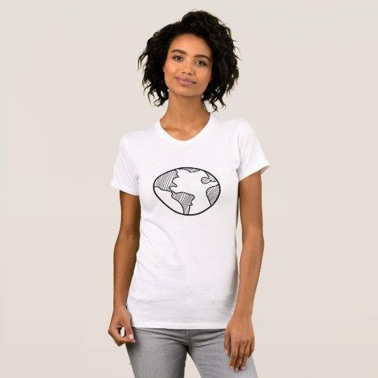 Planet Earth Simple Sketch Design T-Shirt