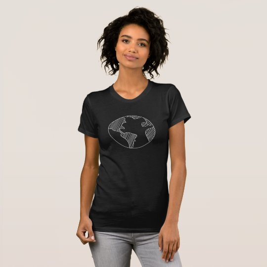 Planet Earth Simple Sketch Design T-Shirt - White
