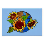 Planet Earth Sunflowers Poster