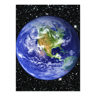 PLANET EARTH v3 star background (solar system) ~ 17 Cm X 22 Cm Invitation Card