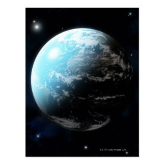 Planet earth with stars all around postcard