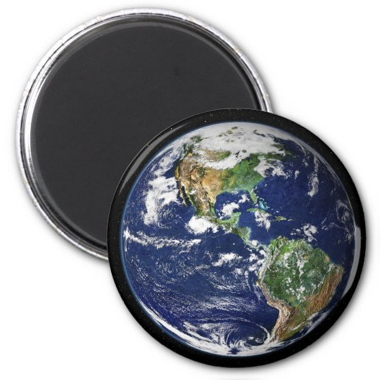 Planet Earth with the Moon in the Background 6 Cm Round Magnet