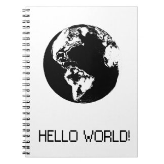 planet Hello black World Spiral Notebook