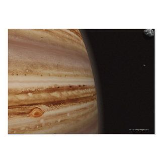 Planet Jupiter and a Distant Moon Card
