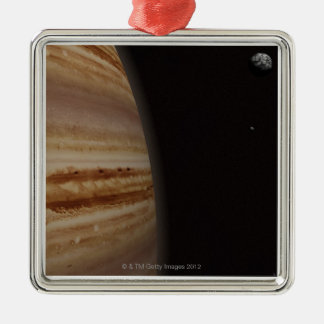 Planet Jupiter and a Distant Moon Silver-Colored Square Decoration