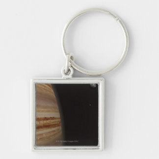 Planet Jupiter and a Distant Moon Silver-Colored Square Key Ring