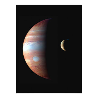 PLANET JUPITER AND ITS VOLCANIC MOON IO (space) ~ 17 Cm X 22 Cm Invitation Card
