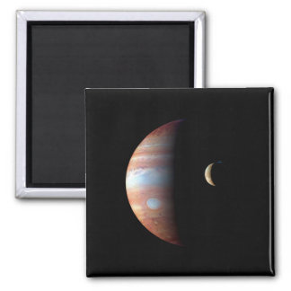 PLANET JUPITER AND ITS VOLCANIC MOON IO (space) ~ Square Magnet
