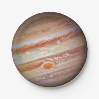 PLANET JUPITER - red spot head on (solar system) ~ 7 Inch Paper Plate
