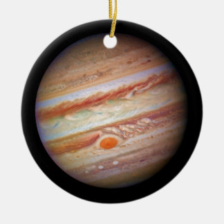 PLANET JUPITER ` red spot head on (solar system) ~ Round Ceramic Decoration