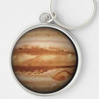 PLANET JUPITER V.2 (solar system) ~ Silver-Colored Round Key Ring