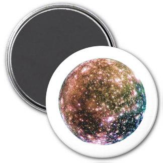 PLANET JUPITER'S MOON - CALLISTO (solar system) ~~ 7.5 Cm Round Magnet