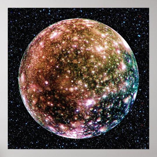 PLANET JUPITER'S MOON: CALLISTO (Star Background) Poster
