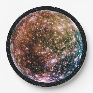 PLANET JUPITER'S MOON - CALLISTO with Star Backgro 9 Inch Paper Plate