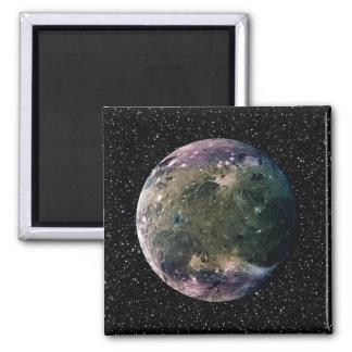 PLANET JUPITER'S MOON GANYMEDE star background ~ Square Magnet