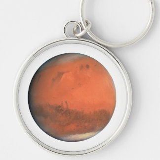 PLANET MARS true color natural (solar system) ~~ Silver-Colored Round Key Ring