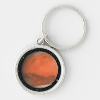 PLANET MARS true color star background ~ Silver-Colored Round Key Ring