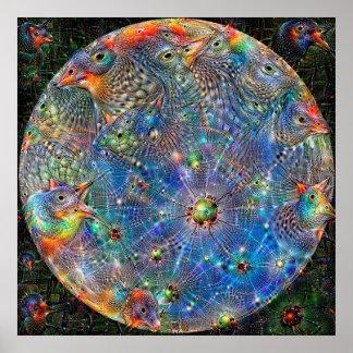 Planet Mercury Deep Dream Poster
