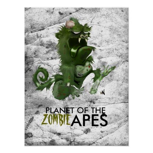 PLANET OF THE, zombie APES Poster