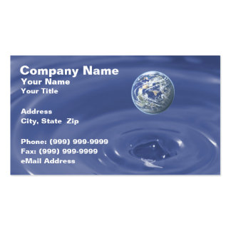 Planet Over Blue Water Business Card Template