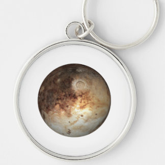 PLANET PLUTO ( solar system) ~~ Silver-Colored Round Key Ring