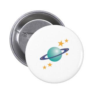 Planet Saturn 6 Cm Round Badge