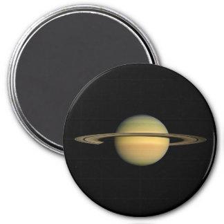 PLANET SATURN DURING EQUINOX (solar system) ~~ 7.5 Cm Round Magnet