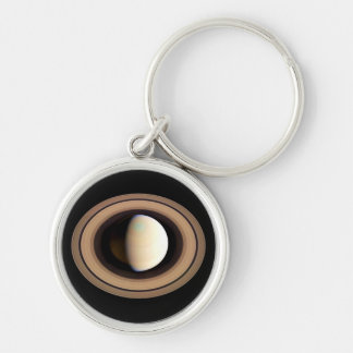 PLANET SATURN natural (solar system) ~~ Silver-Colored Round Key Ring
