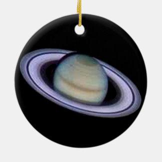 Planet Saturn Ornament. Round Ceramic Decoration