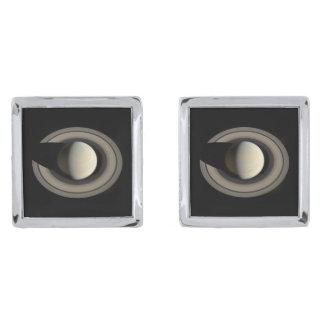 PLANET SATURN (solar system) ~ Silver Finish Cufflinks