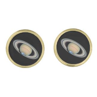 PLANET SATURN (solar system) ~ Gold Finish Cufflinks