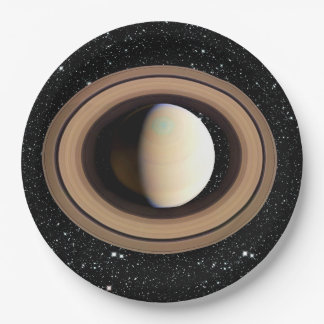 PLANET SATURN star background (solar system) ~~ 9 Inch Paper Plate