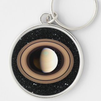 PLANET SATURN star background (solar system) ~~ Silver-Colored Round Key Ring