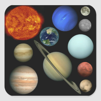 Planet the solar system square sticker