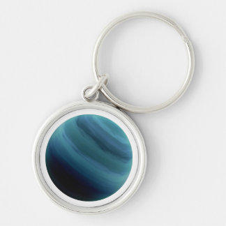 PLANET URANUS (solar system) ~~ Silver-Colored Round Key Ring