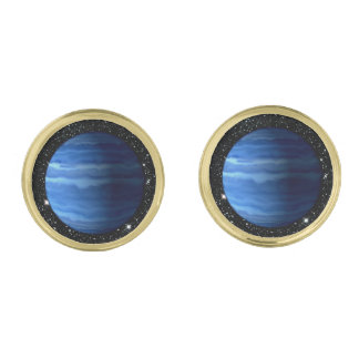PLANET URANUS v.2 star background (solar system) ~ Gold Finish Cufflinks